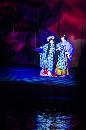bellagio las vegas: LAS VEGAS - AUG 14 : Traditional Japanese Kabuki performance in front of the Bellagio hotel and casino fountains on August 14 2015.