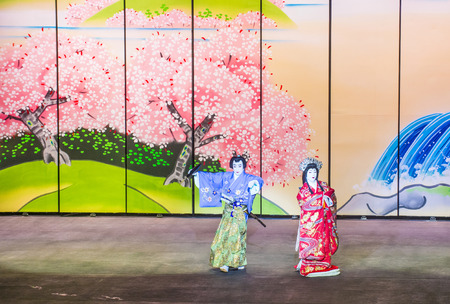 bellagio fountains: LAS VEGAS - AUG 16 : Traditional Japanese Kabuki performance in front of the Bellagio hotel and casino fountains on August 16 2015. Kabuki is a classical Japanese dance-drama