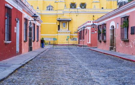 antigua: ANTIGUA , GUATEMALA - JULY 30 : Street view of Antigua Guatemala on July 30 2015. The historic city Antigua is UNESCO World Heritage Site since 1979.