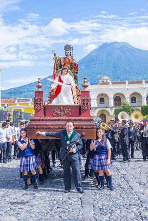 patron: ANTIGUA , GUATEMALA - JULY 25 : The Patron Saint of Antigua annual procession in Antigua Guatemala on July 25 2015. Every year Antigua's turn to honor its own Patron Saint James. Editorial
