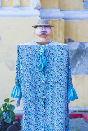 papiermache: ANTIGUA , GUATEMALA - JULY 25 : Mojiganga dance in the street in Antigua Guatemala on July 25 , 2015. Mojigangas are traditional giant puppets.
