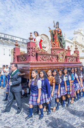 turn of the year: ANTIGUA , GUATEMALA - JULY 25 : The Patron Saint of Antigua annual procession in Antigua Guatemala on July 25 2015. Every year Antigua's turn to honor its own Patron Saint James. Editorial