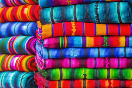 Mayan blankets textile designs on the market in Chichicastenango in Guatemala