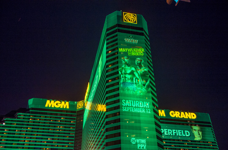 LAS VEGAS - SEP 03 : A sign at the MGM Grand advertises about the Floyd Mayweather and Andre Berto fight on September 03 2015 in Las Vegas , the fight scheduled to September 12 2015