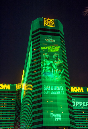 wba: LAS VEGAS - SEP 03 : A sign at the MGM Grand advertises about the Floyd Mayweather and Andre Berto fight on September 03 2015 in Las Vegas , the fight scheduled to September 12 2015