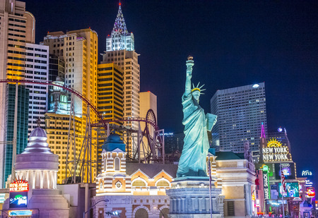 manhatan: LAS VEGAS - SEP 03 : New York-New York Hotel & Casino in Las Vegas on September 03 2015 , This hotel simulates the real New York City skyline and It was opened in 1997.