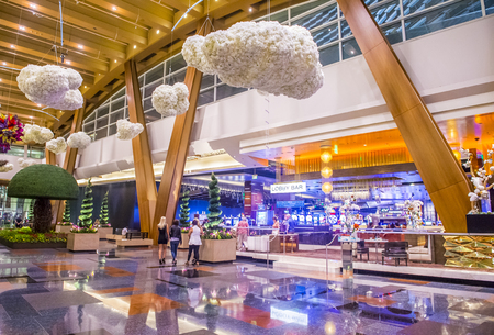 aria: LAS VEGAS - SEP 03 : The interior of Aria Resort and Casino in Las Vegas onSeptember 03 2015. The Aria was opened on 2009 and is the worlds largest hotel to receive LEED Gold certification Editorial