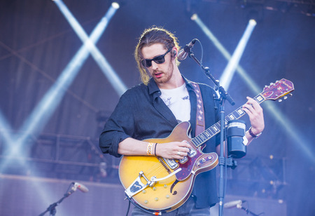 onstage: LAS VEGAS - SEP 19 : Singersongwriter Hozier performs onstage at the 2015 iHeartRadio Music Festival at the Las Vegas Village on September 19, 2015 in Las Vegas, Nevada.