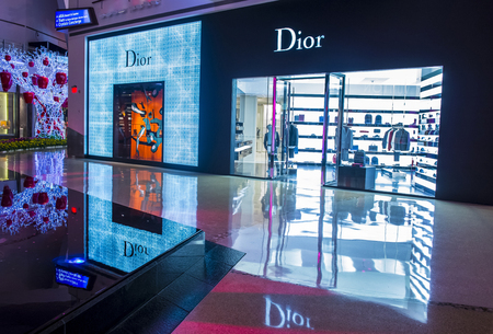 the existing: LAS VEGAS - SEP 03 : Exterior of a Dior store in Las Vegas strip on September 03 , 2015.  Dior is famous French luxury brand existing since 1946. Editorial