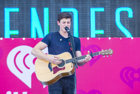 onstage: LAS VEGAS - SEP 19 : Singer Shawn Mendes performs onstage at the 2015 iHeartRadio Music Festival at the Las Vegas Village on September 19, 2015 in Las Vegas, Nevada.