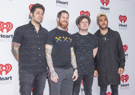 pete: LAS VEGAS - SEP 19 : (L-R) Joe Trohman, Andy Hurley, Patrick Stump and Pete Wentz of Fall Out Boy attends the 2015 iHeartRadio Music Festival on September 19, 2015 in Las Vegas, Nevada.