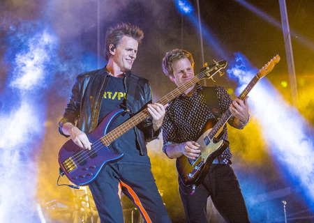 taylor: LAS VEGAS - SEP 26 : Musicians John Taylor (L) and Roger Taylor of Duran Duran perform onstage during day 2 of the 2015 Life Is Beautiful Festival on September 26, 2015 in Las Vegas, Nevada. Editorial