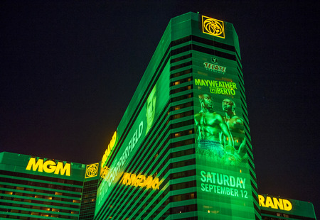 floyd: LAS VEGAS - SEP 03 : A sign at the MGM Grand advertises about the Floyd Mayweather and Andre Berto fight on September 03 2015 in Las Vegas , the fight scheduled to September 12 2015