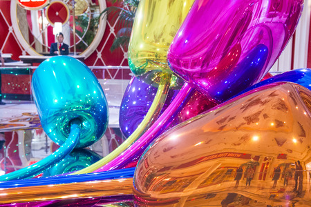 purchased: LAS VEGAS - SEP 10 : The Jeff Koons Tulips Sculpture display at the Wynn Hotel in Las Vegas on September 10 , 2015. The sculpture purchased by Steve Wynn in 2012 for $33.6 million dollars