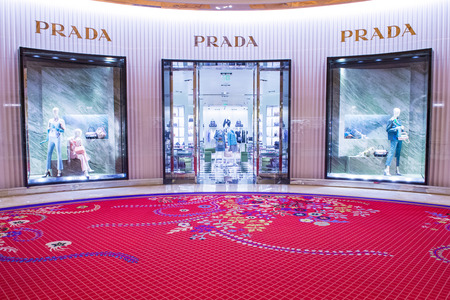 prada: LAS VEGAS - SEP 10 : Exterior of a Prada store in Las Vegas strip on September 10 , 2015. Prada is an Italian luxury fashion house founded in 1913 in Milan. Editorial
