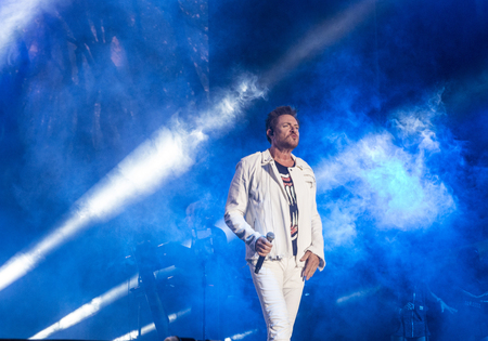 onstage: LAS VEGAS - SEP 26 : Musician Simon LeBon of Duran Duran performs onstage during day 2 of the 2015 Life Is Beautiful Festival on September 26, 2015 in Las Vegas, Nevada.
