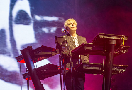onstage: LAS VEGAS - SEP 26 : Musician Nick Rhodes of Duran Duran performs onstage during day 2 of the 2015 Life Is Beautiful Festival on September 26, 2015 in Las Vegas, Nevada. Editorial