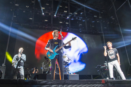 onstage: LAS VEGAS - SEP 26 : Pop band Duran Duran perform onstage during day 2 of the 2015 Life Is Beautiful Festival on September 26, 2015 in Las Vegas, Nevada.