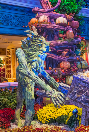 each year: LAS VEGAS - OCT 15 : Fall season in Bellagio Hotel Conservatory & Botanical Gardens on October 15 , 2015 in Las Vegas. There are five seasonal themes that the Conservatory undergoes each year.