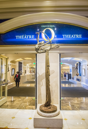 soleil: LAS VEGAS - OCT 15 : O theatre at the Bellagio hotel in Las Vegas on October 15 2015. O is a Cirque du Soleil stage production written and directed by Franco Dragone. Editorial