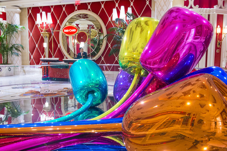 million dollars: LAS VEGAS - SEP 10 : The Jeff Koons Tulips Sculpture display at the Wynn Hotel in Las Vegas on September 10 , 2015. The sculpture purchased by Steve Wynn in 2012 for $33.6 million dollars