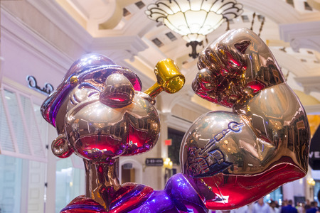 million dollars: LAS VEGAS - SEP 10 : The Jeff Koons Popeye Sculpture display at the Wynn Hotel in Las Vegas on September 10 2015. The sculpture purchased by Steve Wynn in May 2014 for $28.1 million dollars