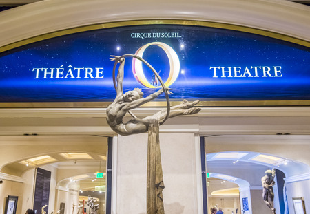 cirque: LAS VEGAS - OCT 15 : O theatre at the Bellagio hotel in Las Vegas on October 15 2015. O is a Cirque du Soleil stage production written and directed by Franco Dragone. Editorial