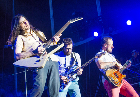 onstage: LAS VEGAS - SEP 27 : Musicians Brian Bell, Rivers Cuomo and Scott Shriner of Weezer perform onstage AT the 2015 Life Is Beautiful Festival on September 27, 2015 in Las Vegas, Nevada.