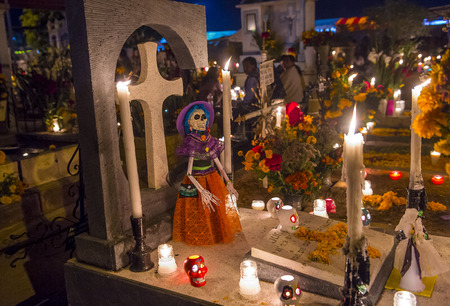 The cemetery of Oaxaca at night during Day of the Dead