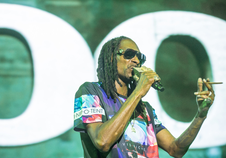snoop: LAS VEGAS - SEP 26 : Rapper Snoop Dogg performs onstage during day 2 of the 2015 Life Is Beautiful Festival on September 26, 2015 in Las Vegas, Nevada. Editorial