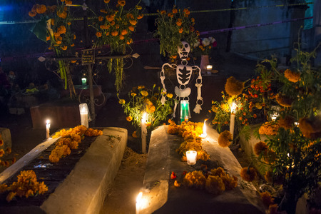 oaxaca: The cemetery of Oaxaca at night during Day of the Dead