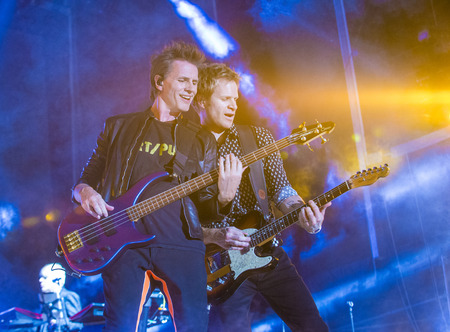 LAS VEGAS - SEP 26 : Musicians John Taylor (L) and Roger Taylor of Duran Duran perform onstage during day 2 of the 2015 Life Is Beautiful Festival on September 26, 2015 in Las Vegas, Nevada. Redakční