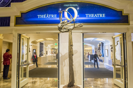 cirque du soleil: LAS VEGAS - OCT 15 : O theatre at the Bellagio hotel in Las Vegas on October 15 2015. O is a Cirque du Soleil stage production written and directed by Franco Dragone. Editorial