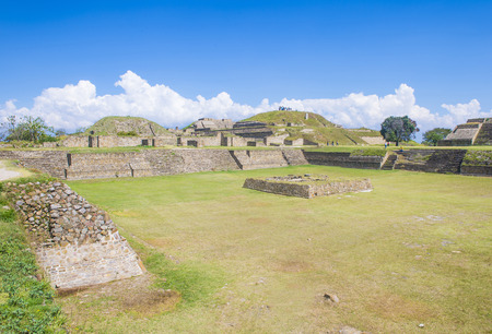 columbian: MONTE ALBAN , MEXICO - NOV 01 : The ruins of the Zapotec city of Monte Alban in Oaxaca, Mexico on November 01 2015.  Monte Alban is UNESCO World Heritage Site since 1987