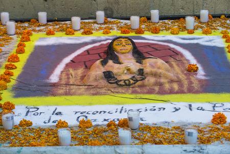 dia de los muertos: OAXACA , MEXICO - NOV 02 : Traditional Mexican altar installation at the Dia De Los Muertos celebration in Oaxaca , Mexico on November 02 2015