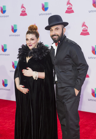 grammy: LAS VEGAS , NOV 19 : Lucky Diaz (R) and Alisha Gaddis attends the 16th Annual Latin GRAMMY Awards on November 19 2015 at the MGM Grand Arena in Las Vegas, Nevada Editorial