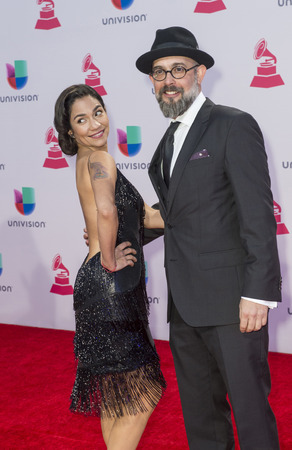 grammy: LAS VEGAS , NOV 19 : Kacho Lopez (R) and Tristana Robles attends the 16th Annual Latin GRAMMY Awards on November 19 2015 at the MGM Grand Arena in Las Vegas, Nevada