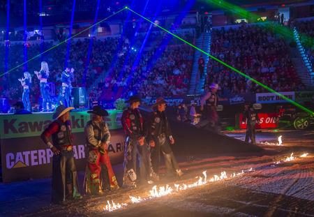 finals: LAS VEGAS - OCT 24 : Opening Ceremony of the PBR bull riding world finals. The bull riding world championship held in Las Vegas Nevada on October 24 2015 Editorial