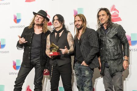 grammy: LAS VEGAS , NOV 19 : Music group Mana, winners of Best PopRock Album award pose in the press room during the 16th Annual Latin GRAMMY Awards on November 2015 in Las Vegas, Nevada Editorial