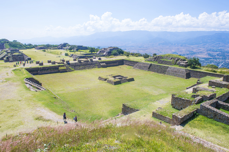 national scenic trail: MONTE ALBAN , MEXICO - NOV 01 : The ruins of the Zapotec city of Monte Alban in Oaxaca, Mexico on November 01 2015.  Monte Alban is UNESCO World Heritage Site since 1987