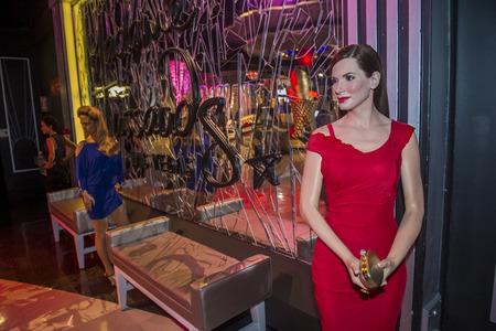 bullock: LAS VEGAS - OCT 23 : A waxwork of Sandra Bullock at The Madame Tussauds museum in Las Vegas on October 23 2015 , The two-floor 30,000-square-foot museum has 100-plus wax replicas.