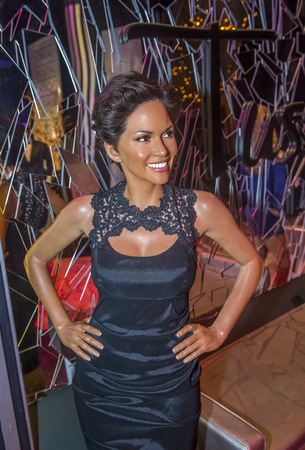 LAS VEGAS - OCT 23 : A waxwork of Halle Berry at The Madame Tussauds museum in Las Vegas on October 23 2015 , The two-floor 30,000-square-foot museum has 100-plus wax replicas.