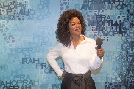 LAS VEGAS - OCT 23 : A waxwork of Oprah at The Madame Tussauds museum in Las Vegas on October 23 2015 , The two-floor 30,000-square-foot museum has 100-plus wax replicas.