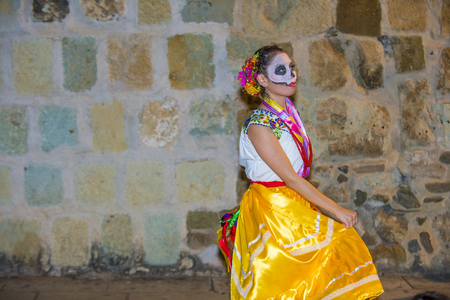 oaxaca: OAXACA , MEXICO  - NOV 02 : Unknown participant on a carnival of the Day of the Dead in Oaxaca, Mexico, on November 02 2015. The Day of the Dead is one of the most popular holidays in Mexico