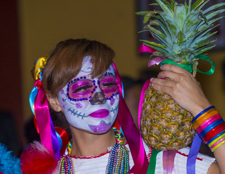 oaxaca: OAXACA , MEXICO - NOV 02 : Unidentified participant on a carnival of the Day of the Dead in Oaxaca, Mexico on November 02 2015. The Day of the Dead is one of the most popular holidays in Mexico