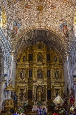 oaxaca: OAXACA , MEXICO - NOV 02 : The interior of Santo Domingo de Guzman church in Oaxaca , Mexico. on November 02 2015  the church was founded by the Dominican Order in 1570. Editorial