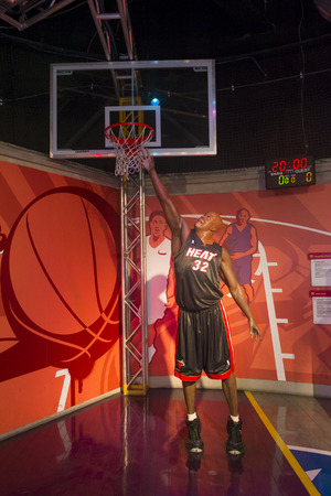 display figure: LAS VEGAS - OCT 23 : The Madame Tussauds museum in Las Vegas on October 23 2015 , The two-floor 30,000-square-foot museum has 100-plus wax replicas.