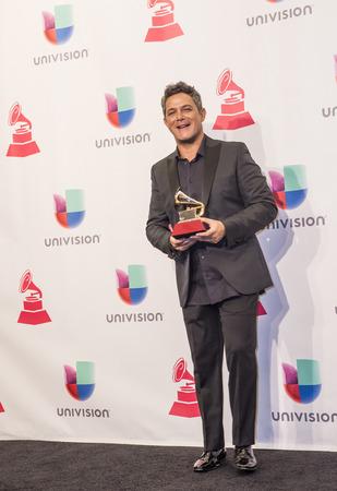 grammy: LAS VEGAS , NOV 19 : Singer Alejandro Sanz poses in the press room during the 16th Annual Latin GRAMMY Awards on November 19 2015 at the MGM Grand Arena in Las Vegas, Nevada
