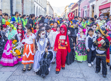 oaxaca: OAXACA , MEXICO  - NOV 02 : Unknown participants on a carnival of the Day of the Dead in Oaxaca, Mexico, on November 02 2015. The Day of the Dead is one of the most popular holidays in Mexico