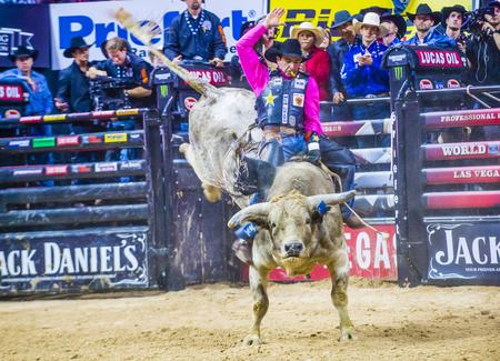 LAS VEGAS - OCT 24 : Cowboy Participating in the PBR bull riding world finals. The bull riding world championship held in Las Vegas Nevada on October 24 2015 Editorial